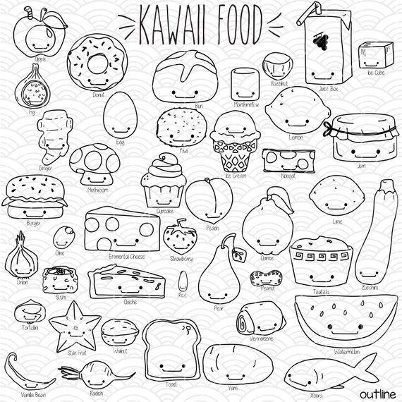 42 Kawaii Food Clip art Bundle | Hand Drawn Cute Fruit ...