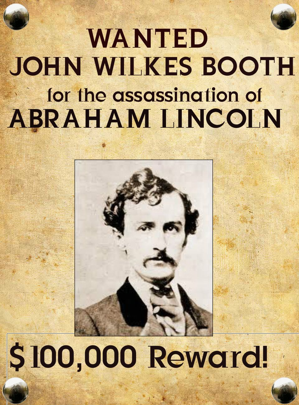 John Wilkes Booth Enid Oklahoma John Wilkes Booth Wanted Poster