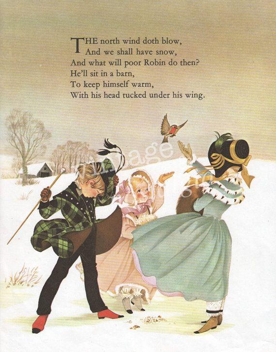 1960s Vintage Nursery Rhyme Print North