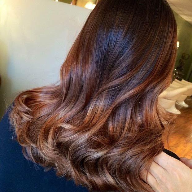 Dark Brown Hair With Rose Gold Balayage Rose Gold Balayage