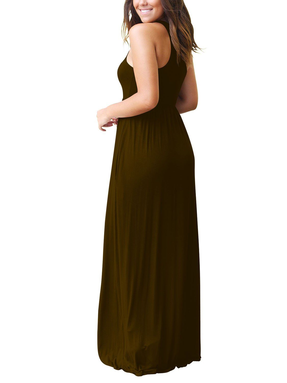 Sunjin Acro Sleeveless Racerback Dresses Long Dress Casual Dresses Plain Maxi Dress [ 1500 x 1125 Pixel ]