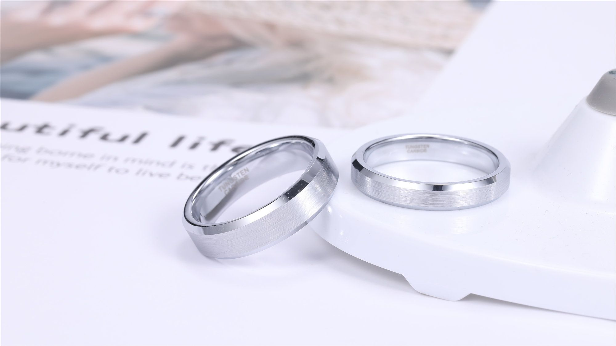 Silver Tungsten Wedding Bands For Men Women Brushed Center And Beveled Edge In 2020 Silver Wedding Bands Tungsten Wedding Bands Mens Wedding Bands