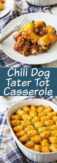 Chili Dog Tater Tot Casserole is a twist on a family favorite recipe. Chili, cheese, hot dogs, tater tots....need I say more?!?!   www.countrysidecravings.com