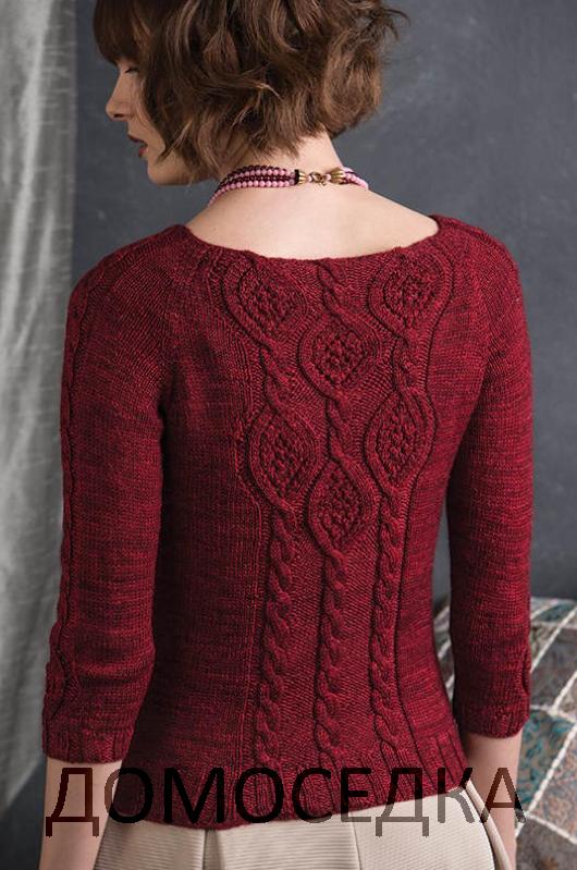 вязаный по кругу пуловер от дженифер вуд выполнен спицами сверху