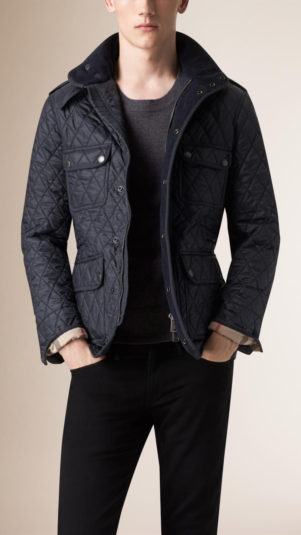 89db0e8bdb5 Diamond Quilted Field Jacket Navy   Burberry   Clothes   Jackets ...