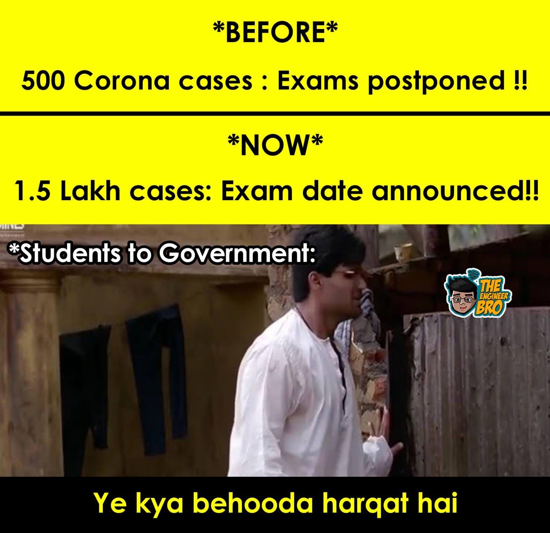 Student's reaction to Exam Dates MEME