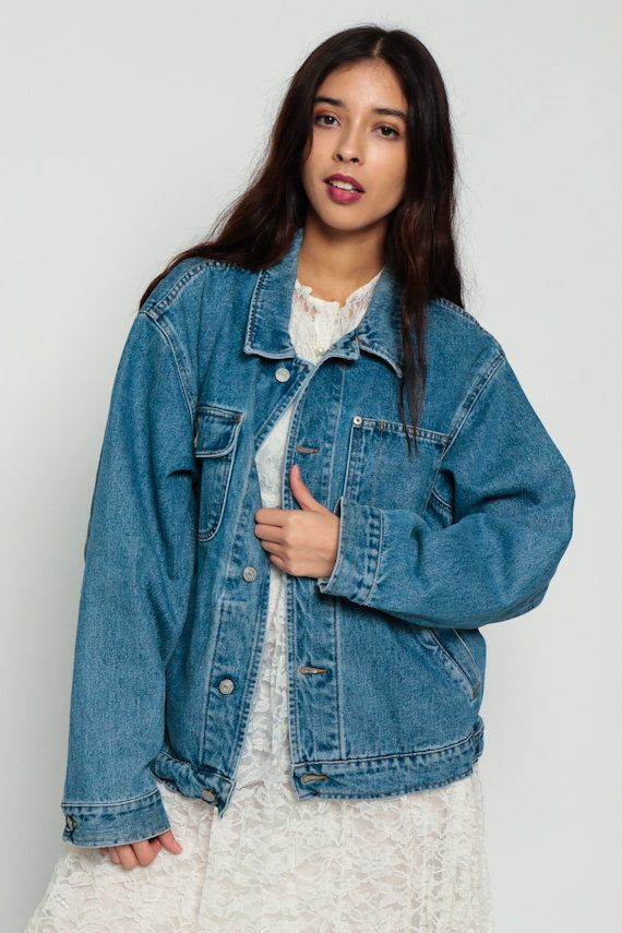 90s Denim Jacket 80s Polo Jeans Jacket Ralph Lauren Grunge Biker Blue Stone Wash Oversize 1980s Vintage Button Up Hipster 90s Denim Jacket Denim Jacket Jackets