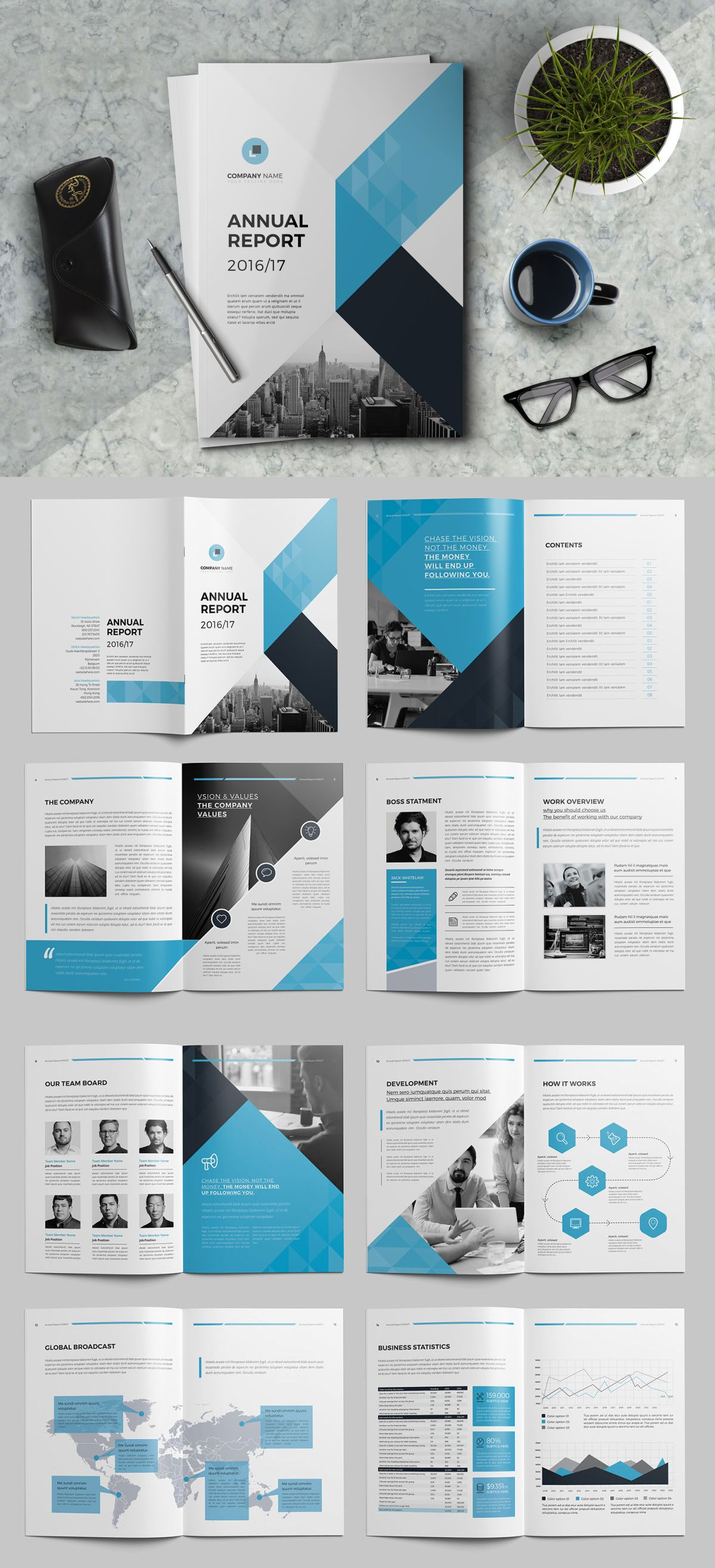 Annual Report 16 Pages Template InDesign INDD | Annual Report ...