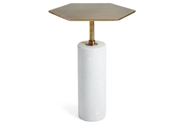 Beck Stone Side Table, Antiqued Brass