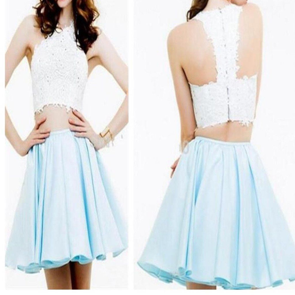 Two piece homecoming dresssweet dressshort homecoming dress