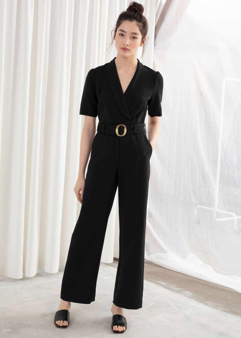 new items best prices various colors Belted Plunging Jumpsuit in 2019   Jumpsuit, Jumpsuit with ...