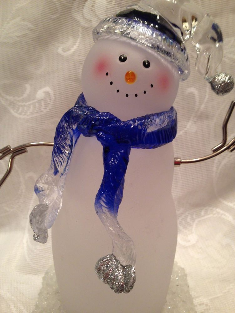 "Christmas Snowman Stocking Holder 8"" High Acrylic Magnetic Arms #Unbranded"