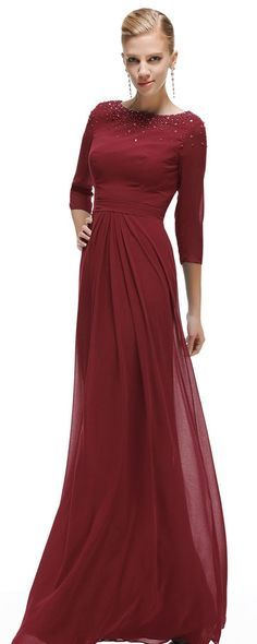 Beaded Modest Burgundy Formal Dresses with Sleeves Plus Suze ...