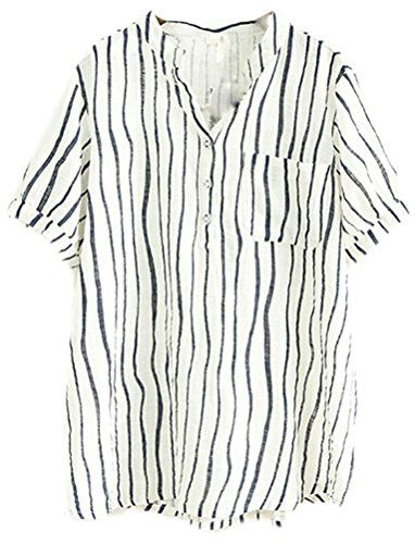 e5d6378fa13464 Soojun Ladies Stripe Vneck Cotton Linen Shirts Top Blouses White *** Check  out this great product.
