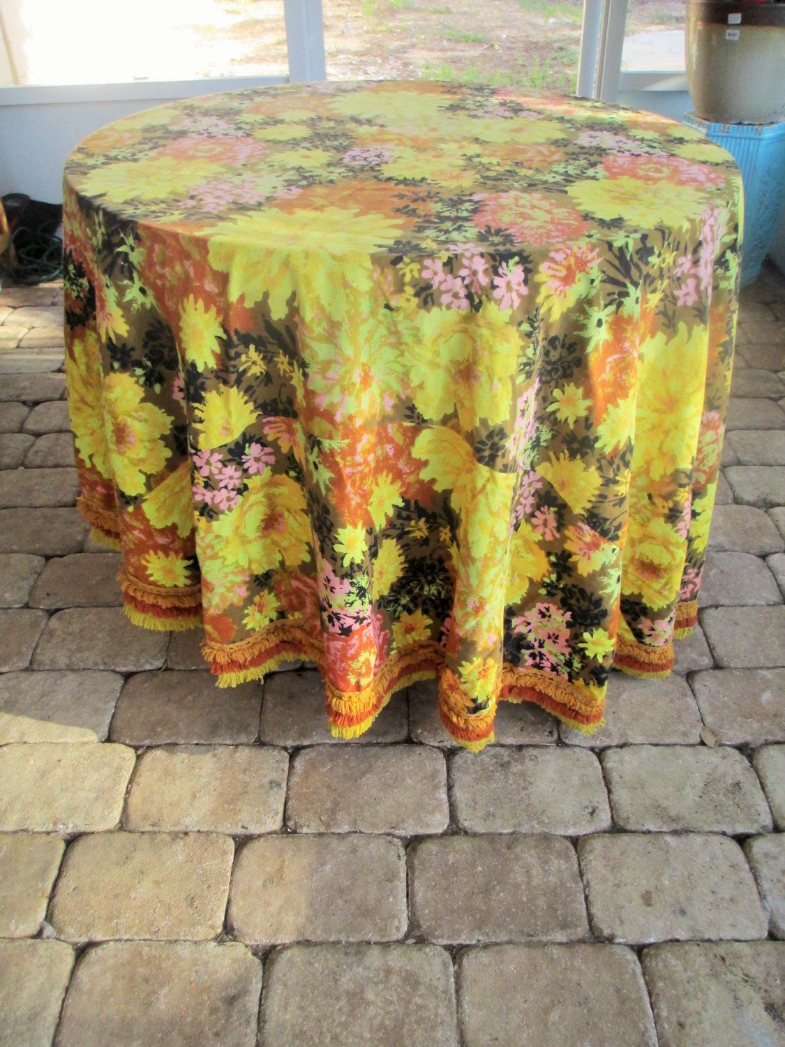 Autumn Floral Tablecloth, Mod Flowers, Fall Tablecloth, Vintage Roundu2026