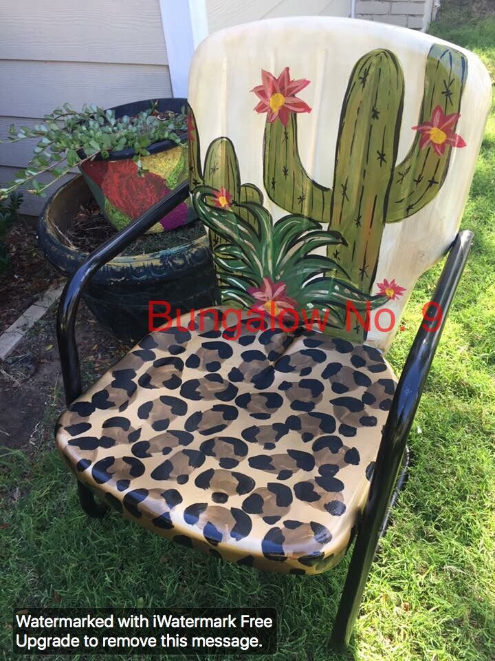 Cactus And Leopard Vintage Lawn Chair · Metal Lawn ChairsPainted Metal  ChairsMetal Outdoor ... Part 71