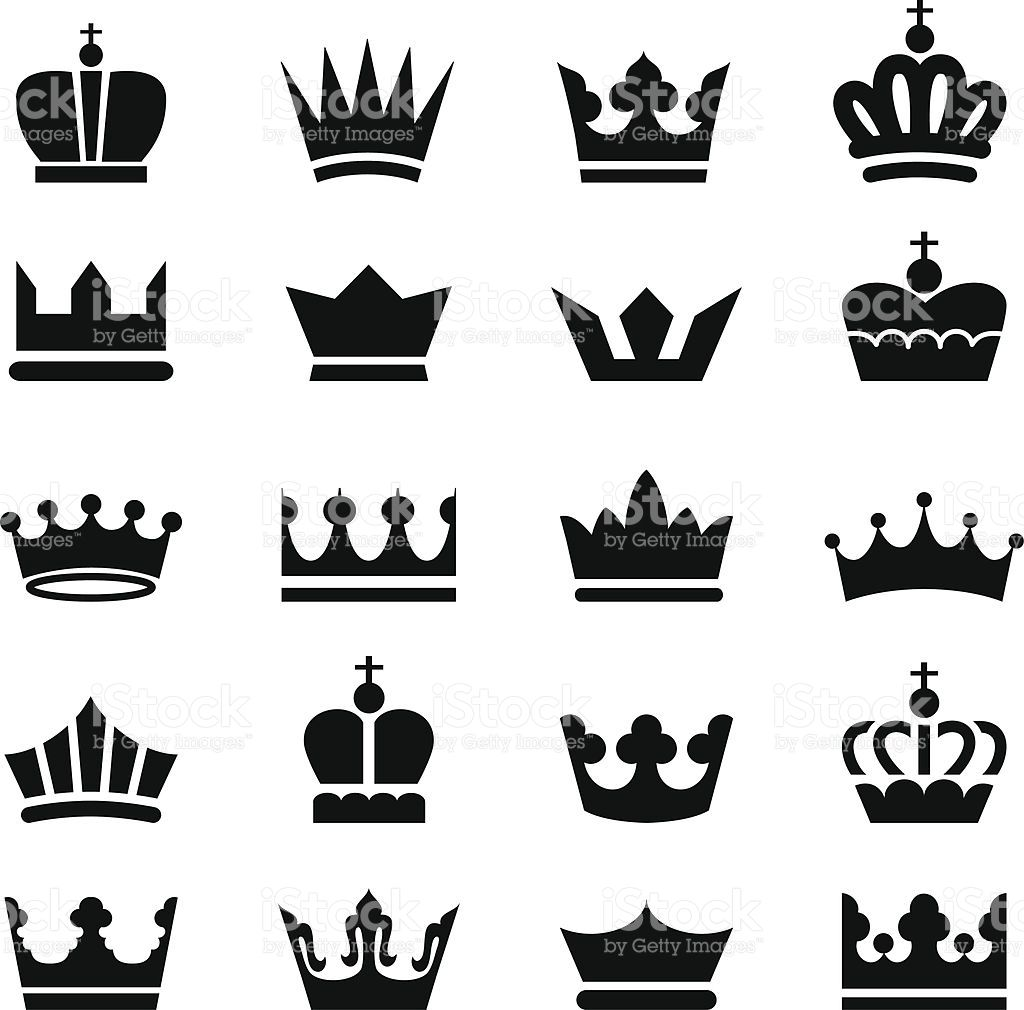 A Set Of 20 Vector Crown Icons Isolated On A White