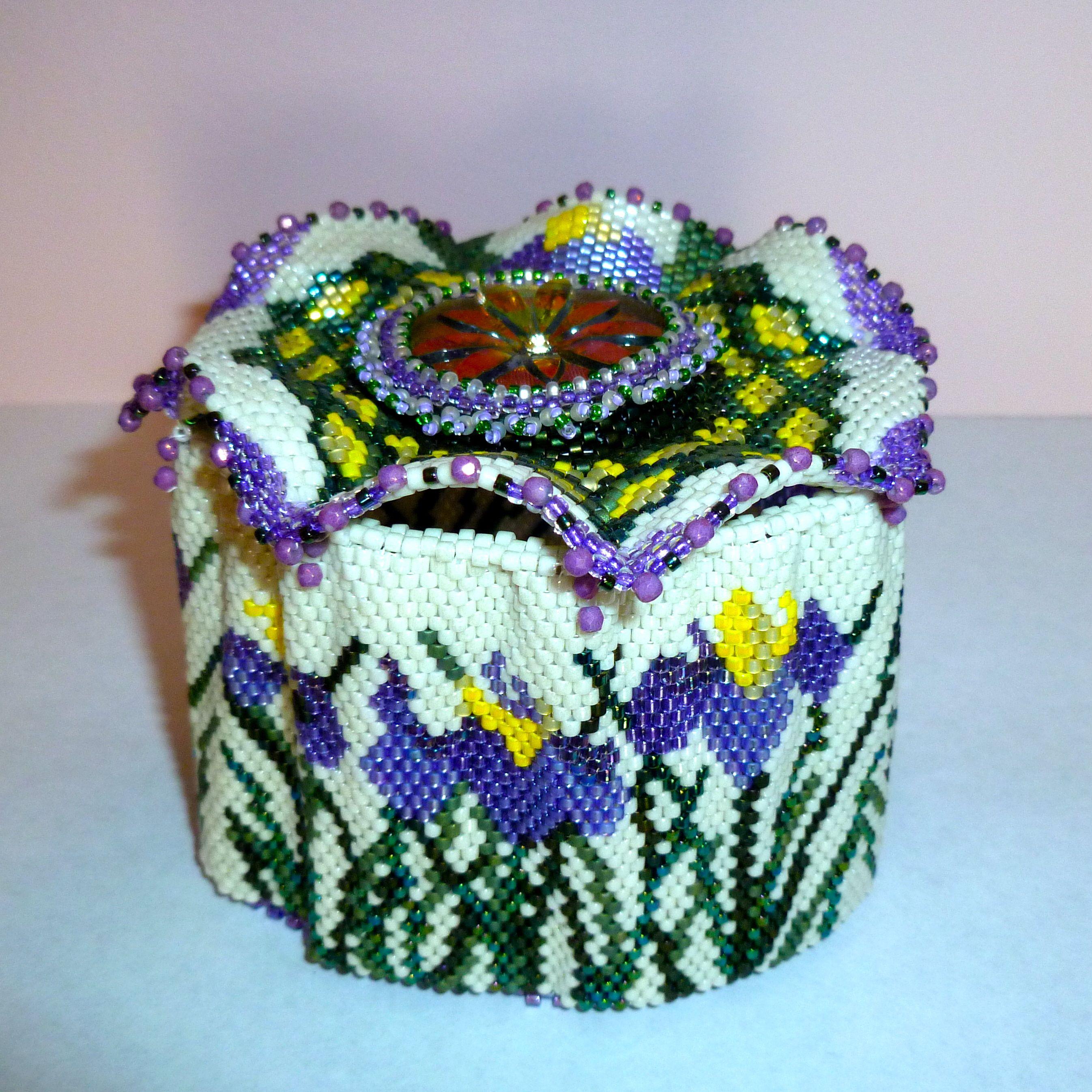 Vessel In Art Nouveau Daffodil Pattern. Delica Beads In