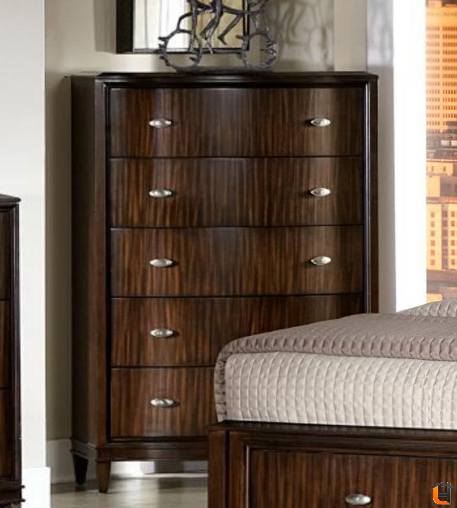 Homelegance Abramo 5 Drawer Chest In Dark Brown Dresser Furniture Homelegance Bedroom Furniture Dark brown chest of drawers