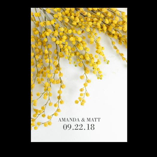 Acacia Flower Wedding Invitations With Yellow Mimosa Spring Wedding Invit Flower Wedding Invitation Spring Wedding Invitations Floral Wedding Invitations