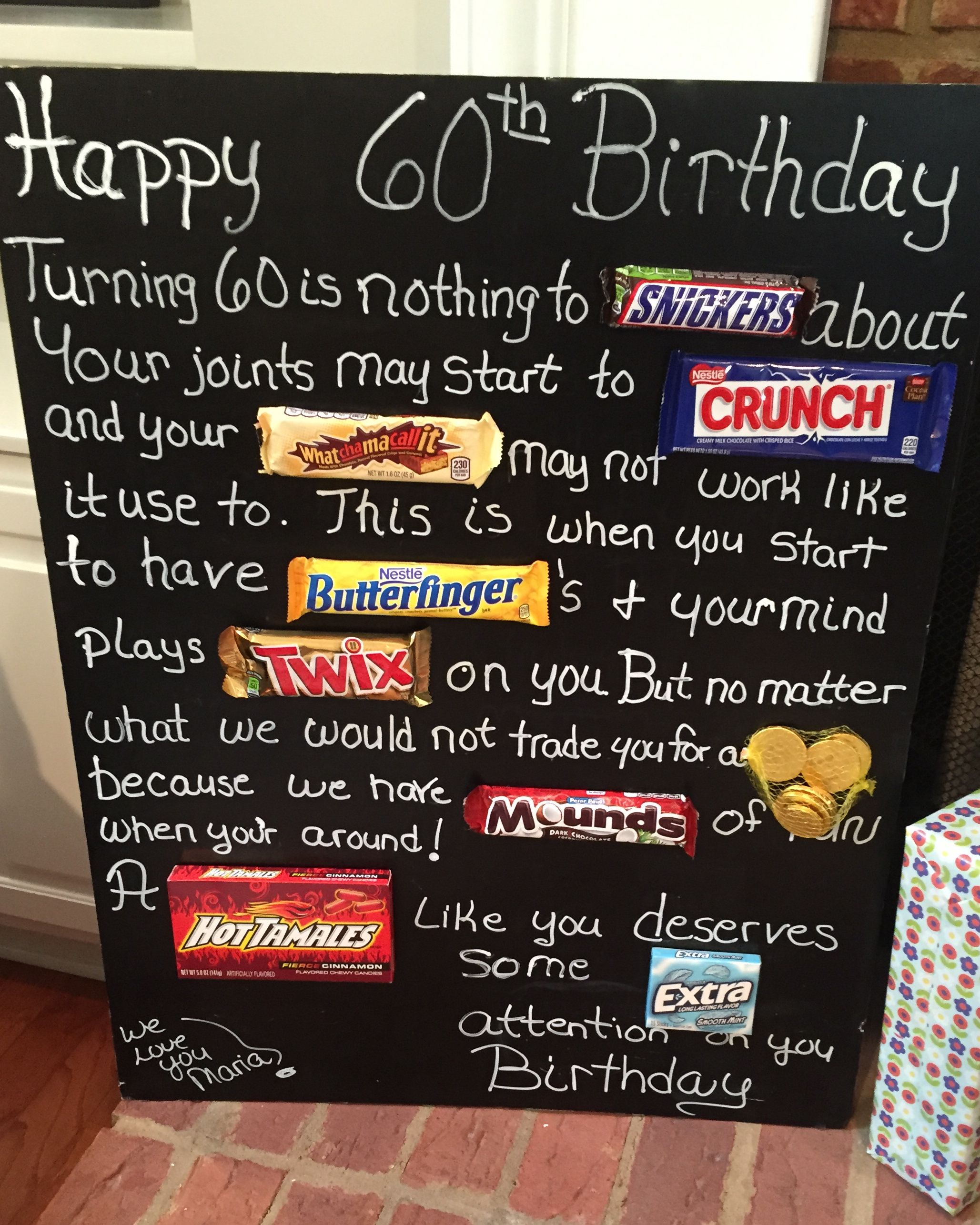 Old age Over the hill 60th birthday card poster using candy bars – 60th Birthday Sayings for Cards