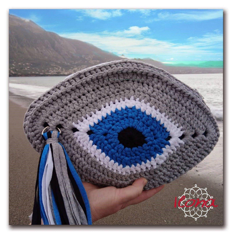 Evil eye crochet clutch bag, Greek Evil Eye