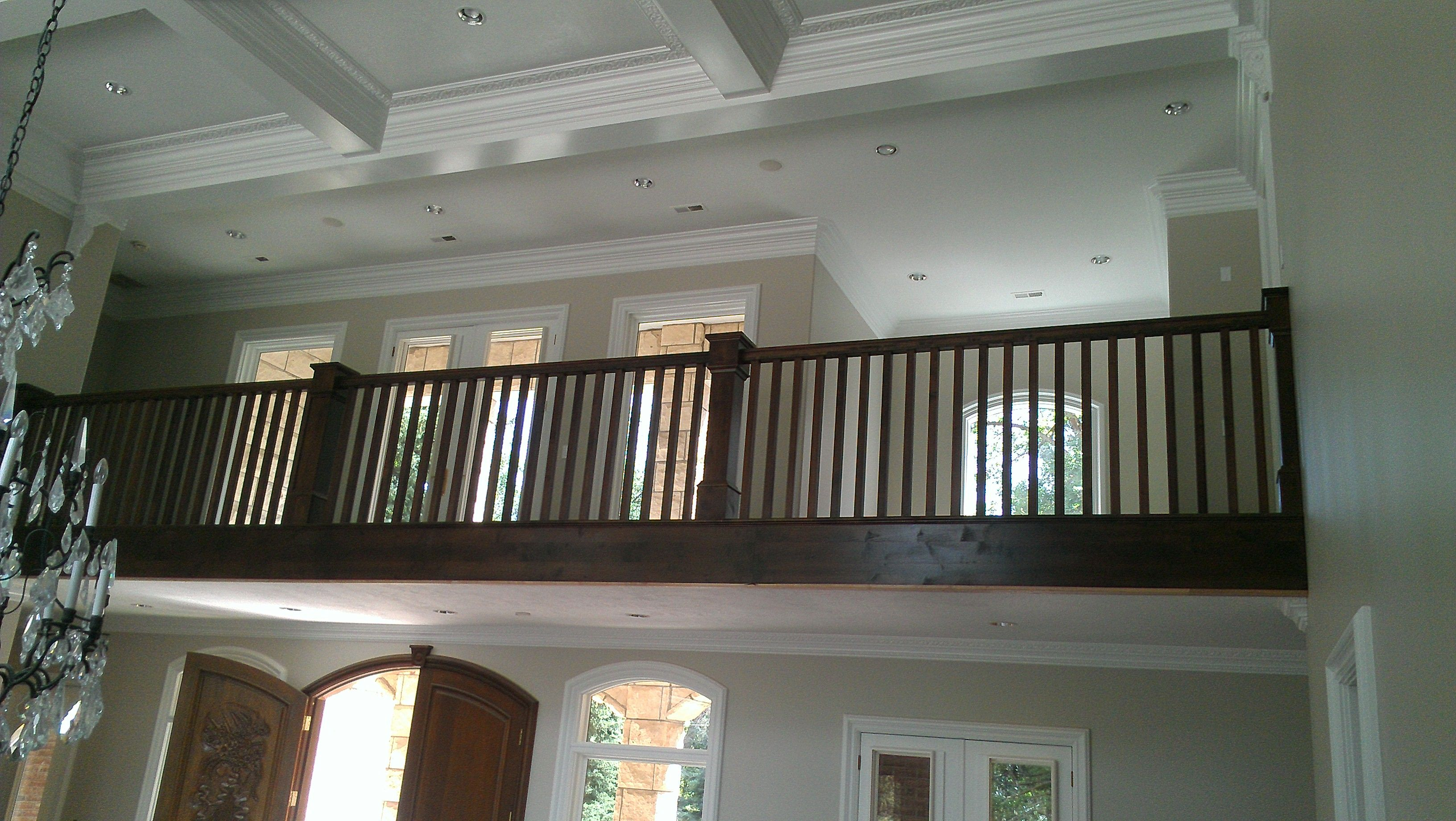 Craftsman style stair railing that apex carpentry built