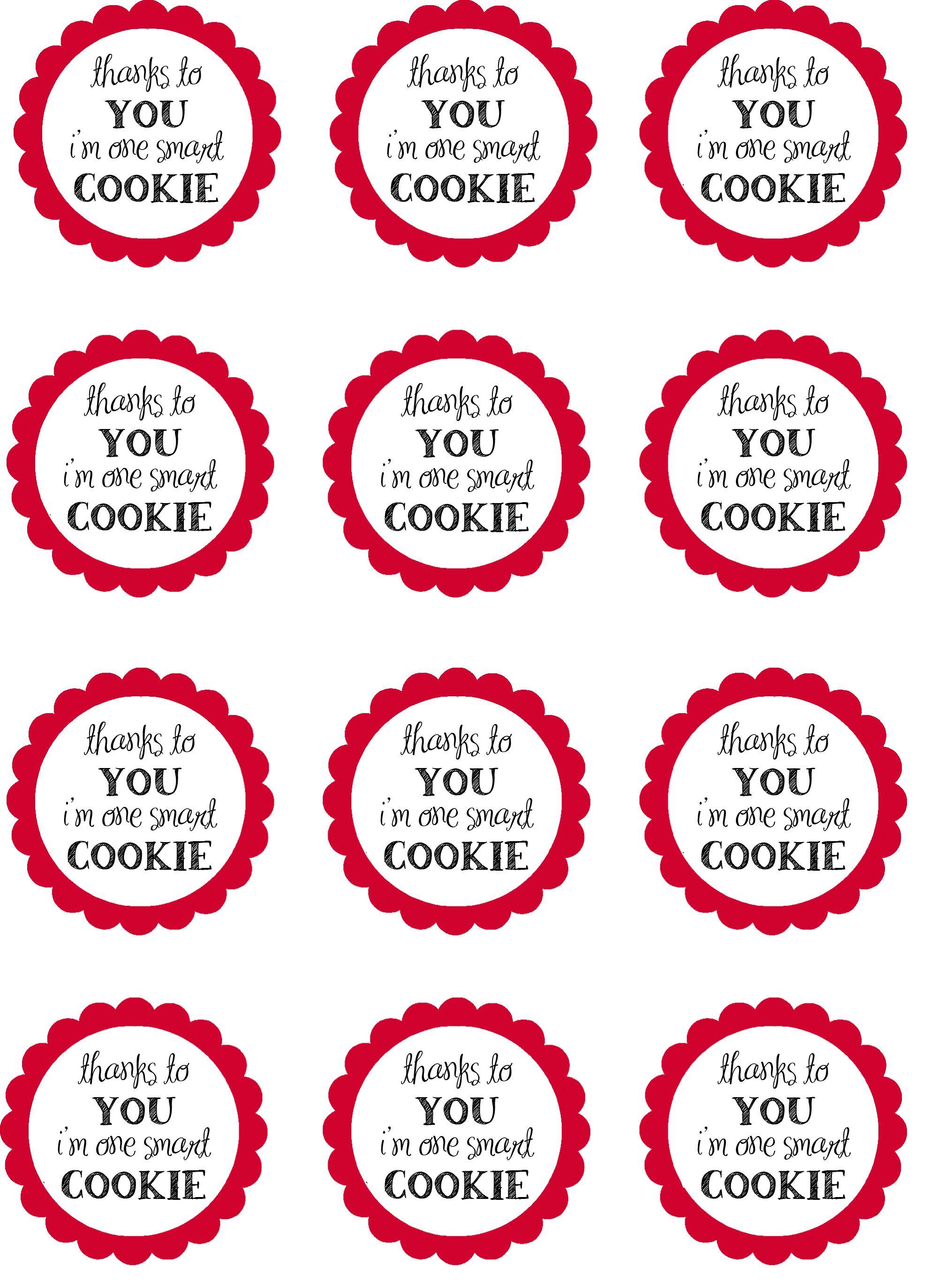 photo regarding One Smart Cookie Printable named sensible cookie printables Instructor appreciation presents