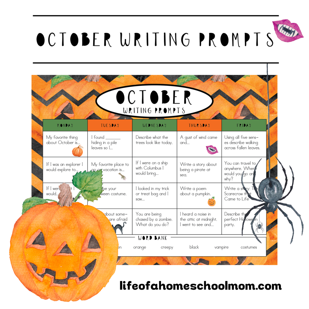 October Writing Prompts For Your Homeschool