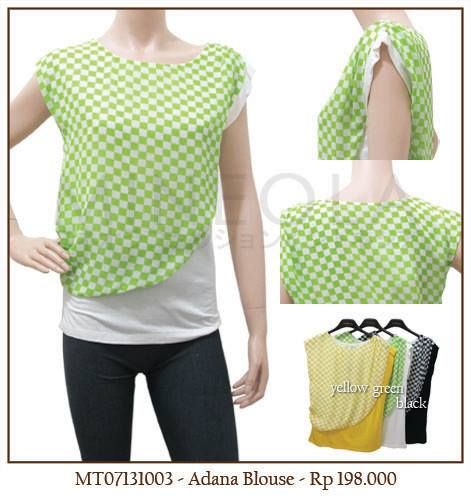 #MINEOLA Adana blouse green. Also available in yellow and black color. Rp.198.000,- Bust: 90cm - Length: 60cm  Fabrics: chiffon + cotton  Product code: MT07131003