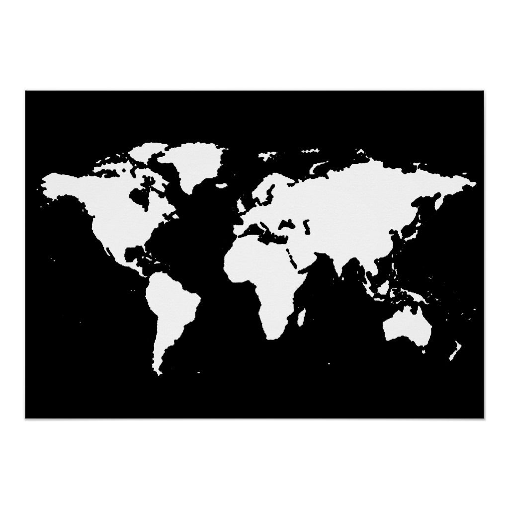 Black And White World Map Poster Zazzle Com Carte Du Monde Carte Du Monde A Imprimer Carte Du Monde Imprimable