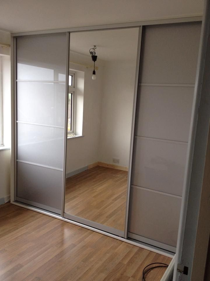 Fitted Made To Measure Sliding Wardrobe With Silver Mirror
