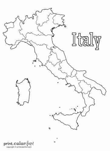 Free Coloring Maps For Kids Map Of Italy Printable
