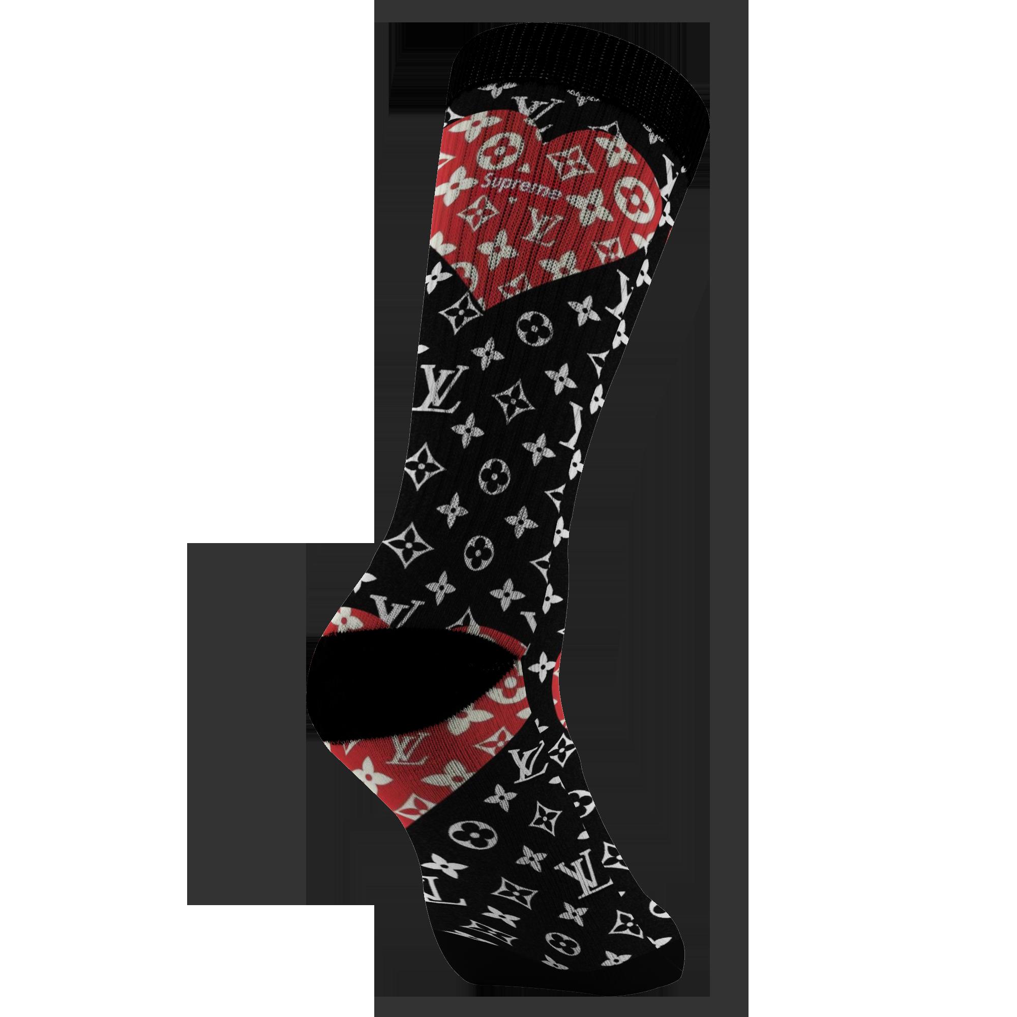 Customized Supreme LV Red Heart Design Print Socks, Unisex