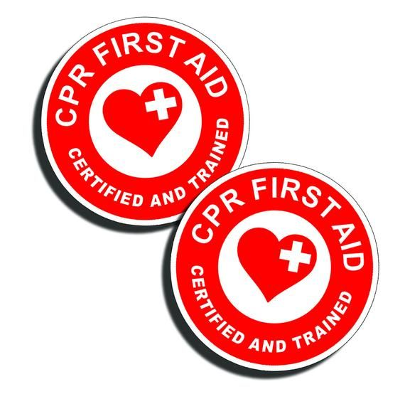 CPR First Aid Sticker 1st Rescue Safe Safety Decal Emergency Station Hard Hat OR Doctor Office Clini #doctoroffice