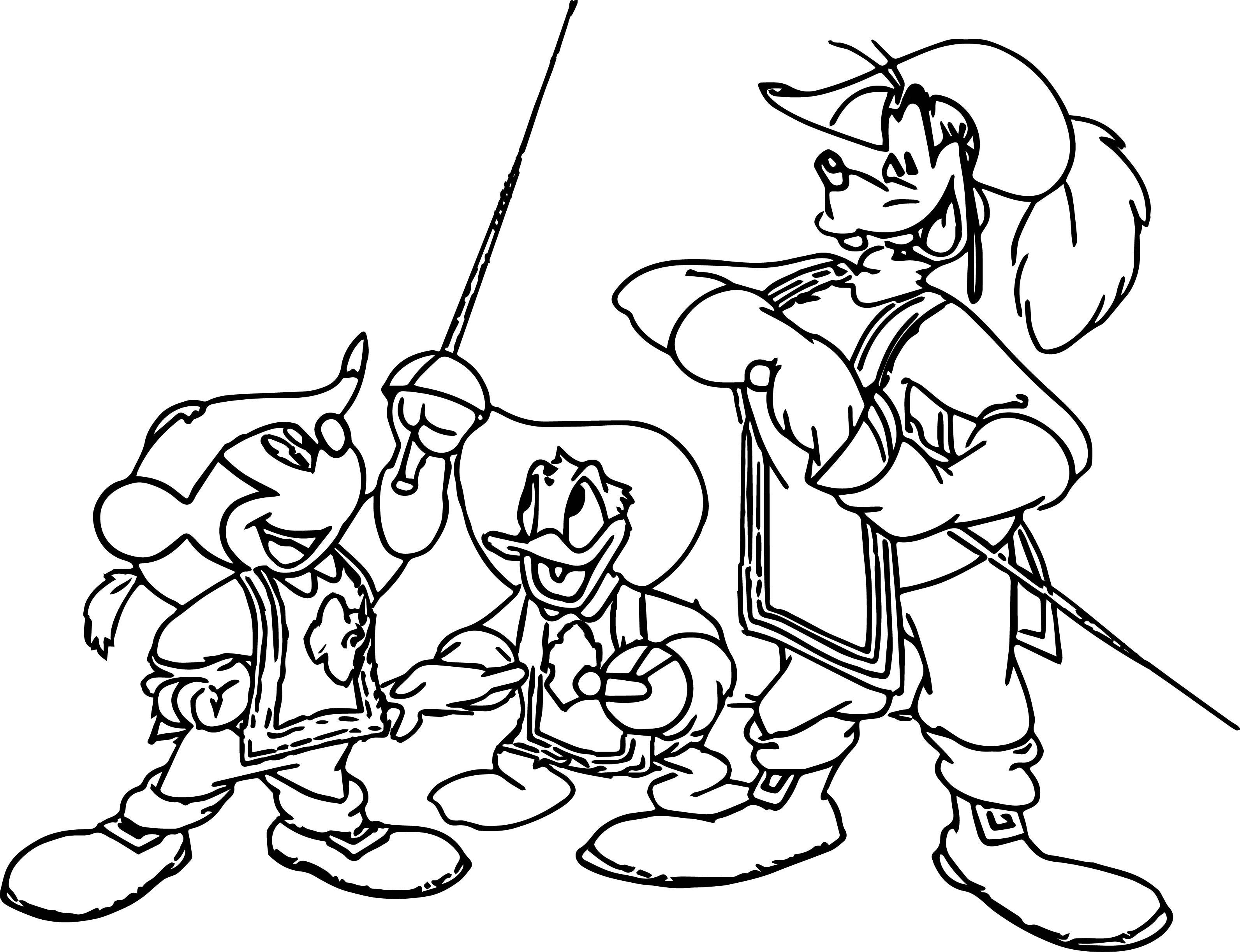 Mickey Mouse Musketeers Coloring Pages Mickey Donald Goofy The Three Musketeers Coloring Pages Mickey Mouse Musketeers Coloring Pages