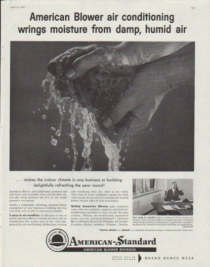 1958 American Standard Vintage Ad Air Conditioning Wrings