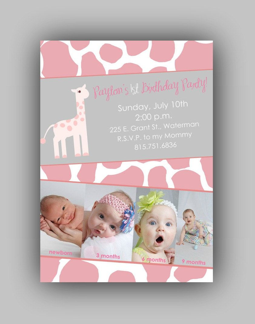 Giraffe Themed Birthday Party Invitation - Digital File | Baby ...