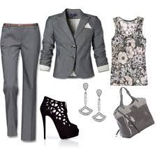 outfit ideas work casual - gris