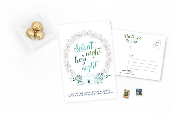 Photo of Personalized Christmas Postcards – Set of 15 or 30 – Watercolor Wreath Illustrated – Holiday Season – Gift – White Wreath – Silent Night