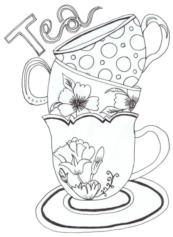 Desenho De Xicaras De Cha Para Colorir Tudodesenhos Patrones Stencil Para Imprimir Plantillas Imprimibles Patrones De Estarcido