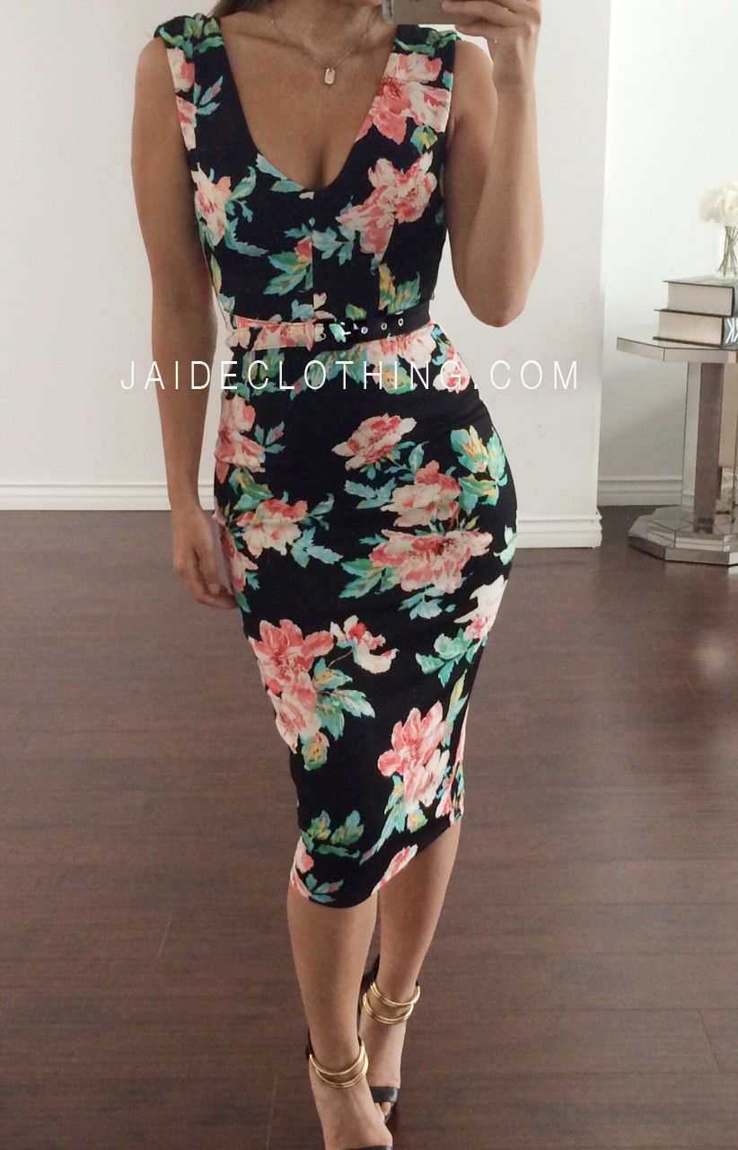 Carolina Floral Belted Midi Dress - Dresses  5035d7eac8ac