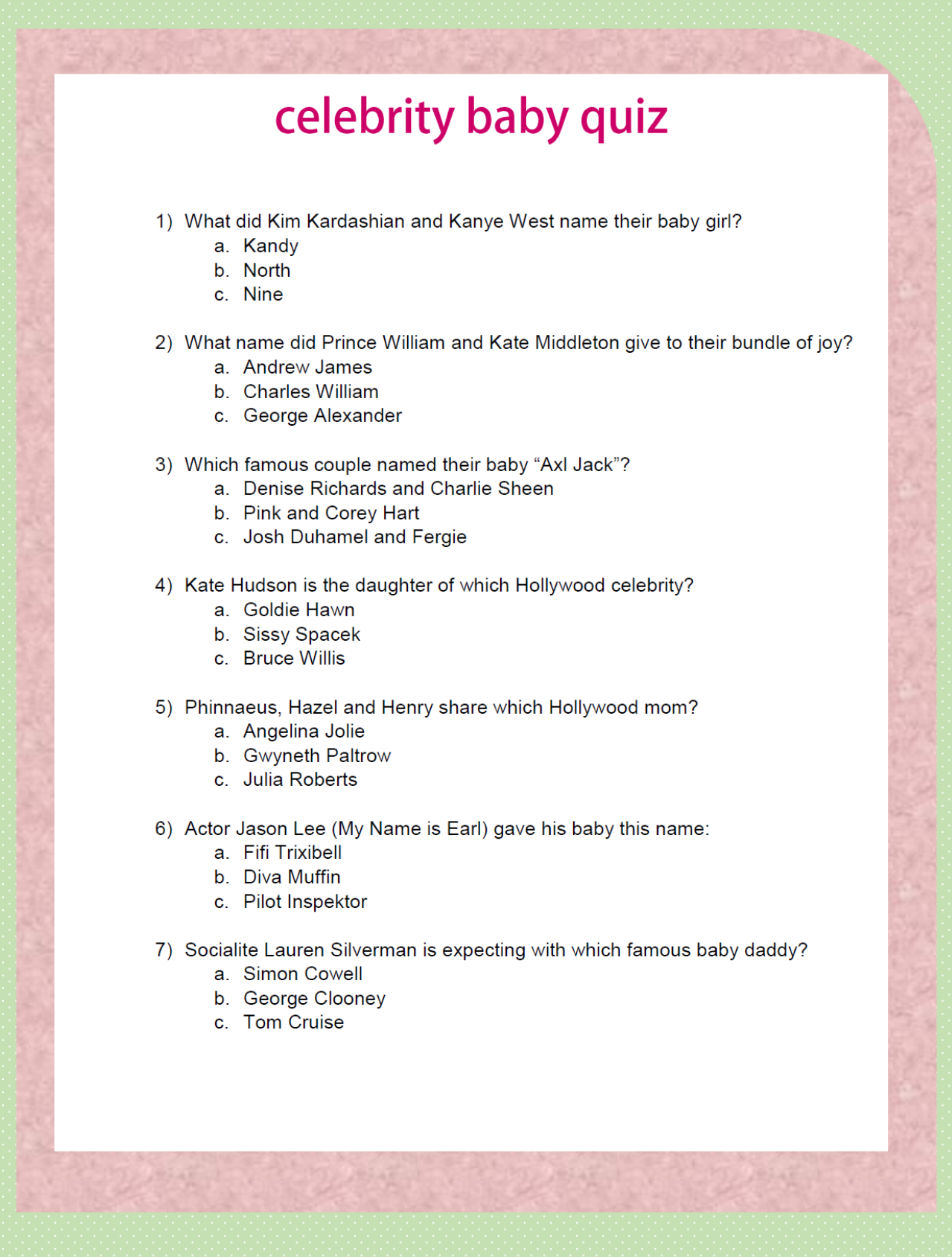 Baby Shower Game. Celebrity Baby Quiz. 7 Questions About Famous Parents  And/or
