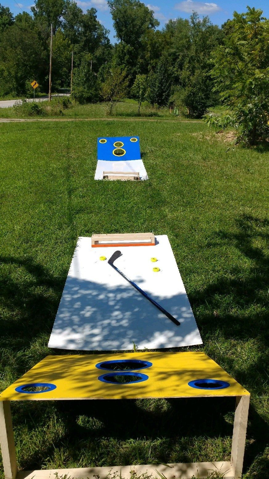 From A Place Where We Love Our Yard Games And Ice Is A Little Harder To Find Missouri I Present To You Hockey Cornhole H Yard Games Diy Yard Games Hockey