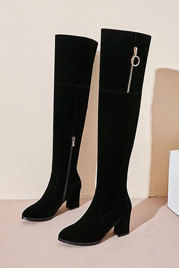 689f6e0e936 Women Black Suede Pointed Toe Asymmetric Zipper Chunky Heel Thigh
