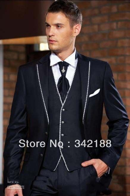 2014 cheap Groom Tuxedos black with white Hemming man Suit Wedding ...