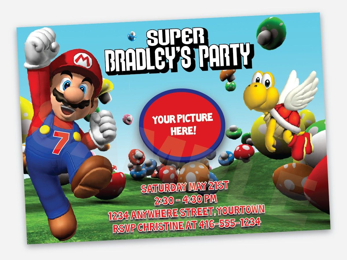 Super Mario Birthday Invitations Super Mario Birthday – Mario Party Invites
