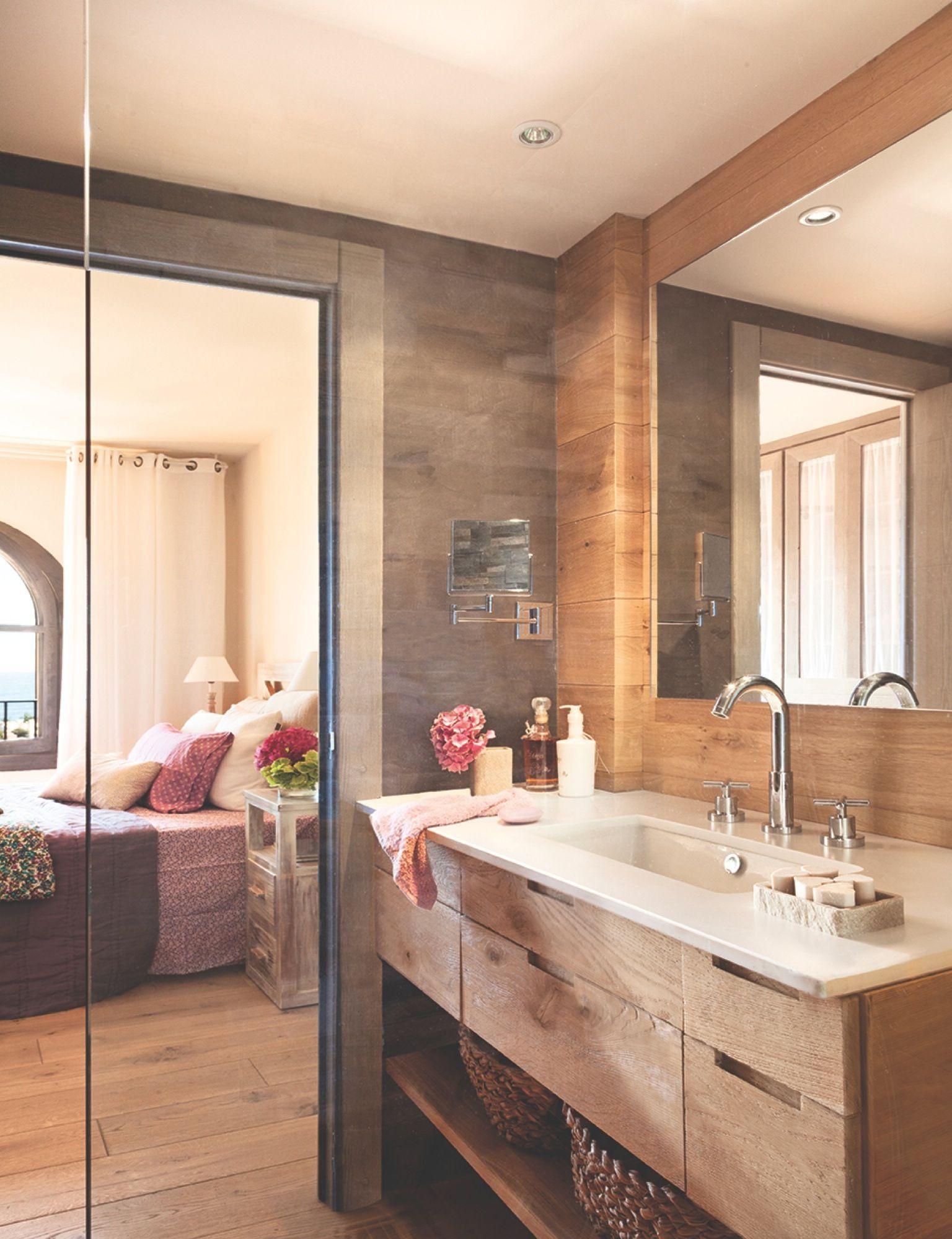 Ba O Abierto Al Dormitorio Con Suelo Mueble Y Paredes De Madera  ~ Distribucion De Baños Rectangulares