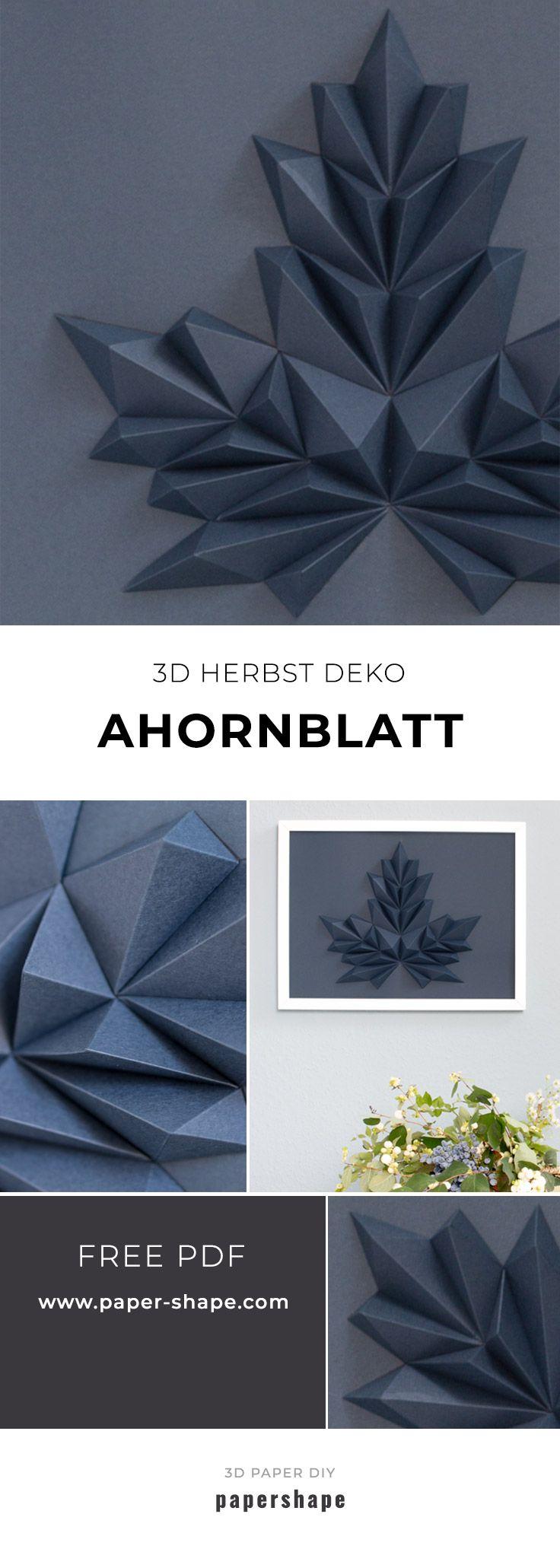 3D-Ahornblatt basteln als Wanddeko (kostenlose Vorlage)