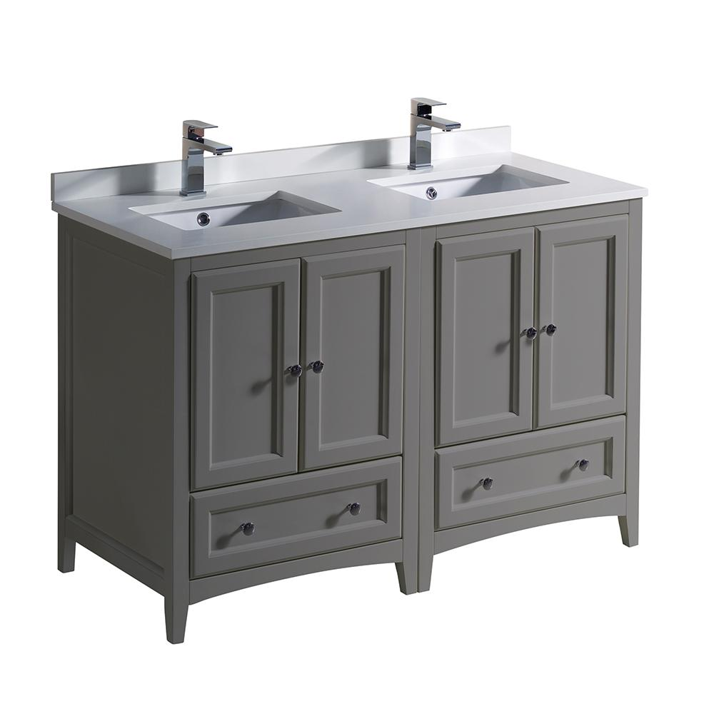 Fresca Oxford 48 In Traditional Double Bath Vanity In Gray With Quartz Stone Vanity Top In White With White Basins Traditional Bathroom Cabinets Traditional Bathroom Double Sink Vanity